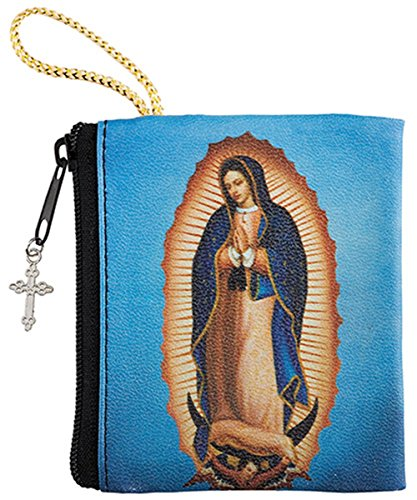 (Vinyl Zipper Rosary Case with Full Color Printed Our Lady of Guadalupe Image, 3 Inch)