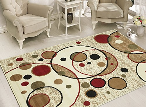 Cheap  Sweet Home Stores Clifton Collection Modern Circles Design Area Rug, 8'2''x9'10'', Beige