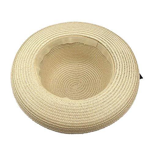 GWLYDB Cute été Hat Bow paille Bucket Hat Hem Roll-Up plage Classic Sun Hat for femmes and Girl Navigator Chapeau