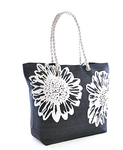 Beach Bag Tote Bags for Women Ladies Large Summer Shoulder Bag With Pocket Carrier Bag Flower (Black) - Floral Print Beach Bag