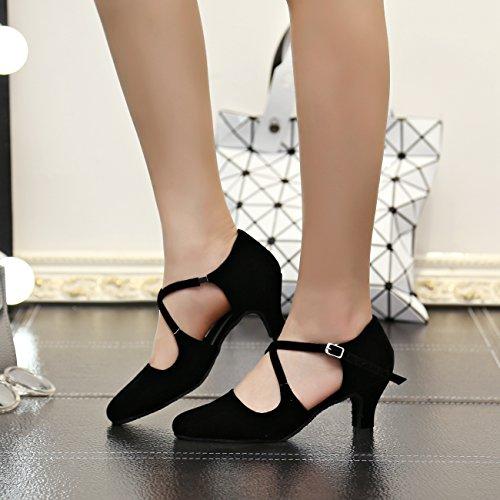 Sandalias de baile para mujer Minitoo QJ6132, con tacón, dedos descubiertos, de ante, para salsa, tango, baile de salón, baile latino Cross Strap/Black-6cm Heel