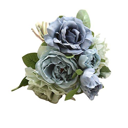 VOWUA Artificial Flowers Full Bloom Lifelike Fake Flowers Rose Bouquet Floral Wedding Bouquet Party Home Decor ()