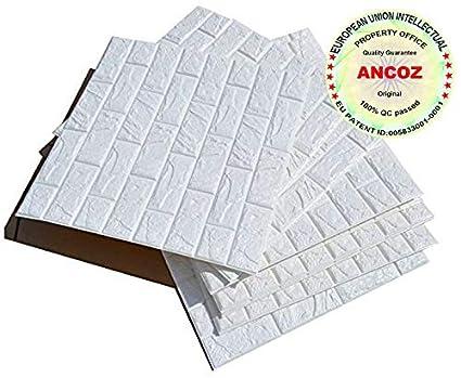 Ancoz 3D Papel pintado ladrillo blanco,pegatinas de pared de ladrillo de imitación, DIY etiqueta engomada de la pared adhesivo decorativo a prueba de ...