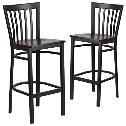 Flash Furniture 2 Pk. HERCULES Series Black School House Back Metal Restaurant Barstool - Walnut Wood Seat ()