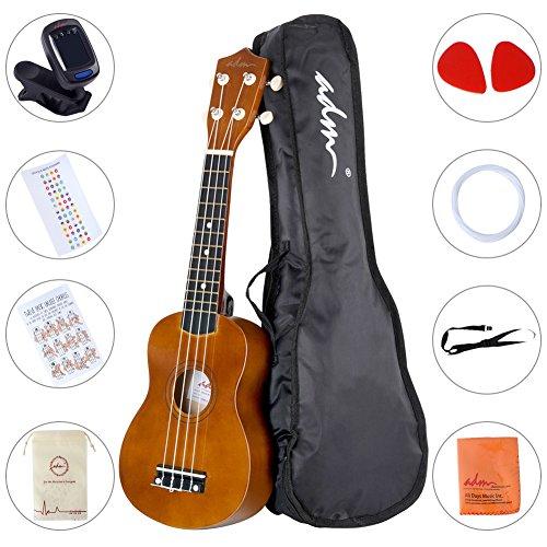(ADM Ukulele 21 Inch Soprano Wood Beginner Kit with Gig bag Tuner Fingerboard Sticker Chord card, Mocha)