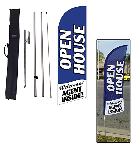 Open House Feather Flag Sign for Real Estate, Advertising Feather Banner Flag with 8 Foot Flag Pole Kit, Ground Stake, and Travel Bag, Signs for Agents