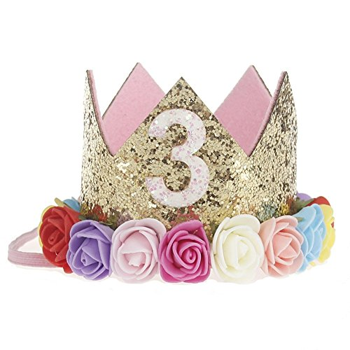 ACTLATI Cute Baby 3rd Birthday Party Headwear Glitter Crown Elastic Hair Band Colored Flower Headband (Hat Toddler Party)