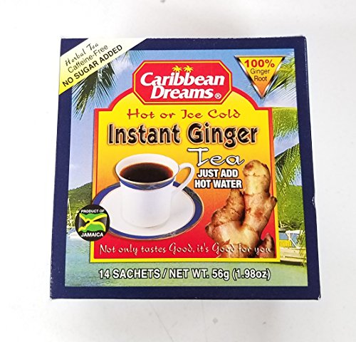 Caribbean Dreams Instant Ginger Tea, Pre-Sweetened, 10 Sachets (4 Pack)