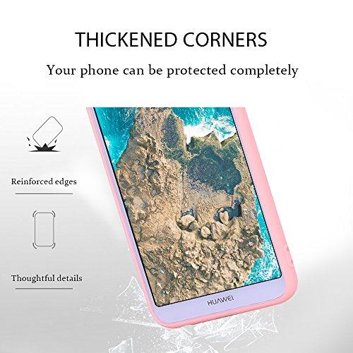 Funda Huawei P Smart, Carcasa Huawei P Smart, Suave Opaco gel Silicona TPU Cover RosyHeart Ultra Fina Flexible Goma Mate Case Tapa Anti-arañazos Protectora Caja Funda para Huawei P Smart (5.65 Pulgada Rosa claro