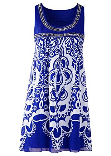 Neu Schönes Damen Chiffon Kleid EU 32 in Blau Perlen