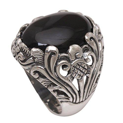 NOVICA Black Onyx .925 Sterling Silver Floral Cocktail Ring, Night Bloom'