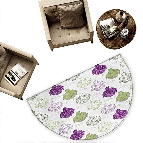 Artichoke Half Round Door mats Sketch Style Vegetables Hand Drawn Style Exotic Tasty Healthy Food Bathroom Mat H 74.8