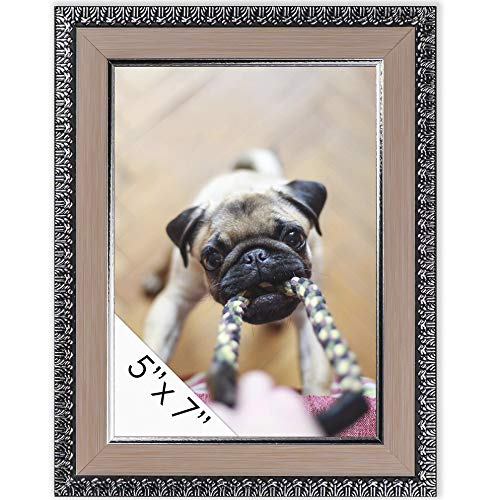 (DecorRack Picture Frame 5x7 inches, Rustic Decor Photo Frame for Document, Certificate, Baby, Family, Cat and Dog Prints, Wall or Desk Photo Display in Pink Silver Ornate Design (1 Pack))