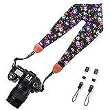 Elvam Scarf Camera Neck Shoulder Strap Belt for Nikon / Canon / Sony / Olympus / Samsung / Pentax / Mini 9 / Mini 8 / Mini 7s / Mini 25 / Mini 50s / DSLR / SLR / DC / Instax Camera - Black Pink Flower