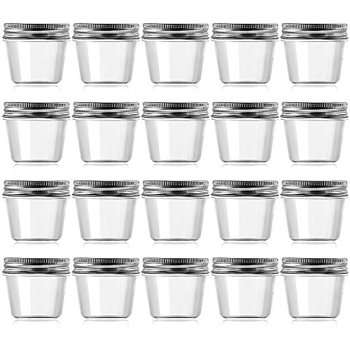 - Novelinks 4 Ounce Clear Plastic Jars Containers With Screw On Lids - Refillable Round Empty Plastic Slime Storage Containers for Cosmetics, Kitchen & Household Storage - BPA Free (20 Pack)
