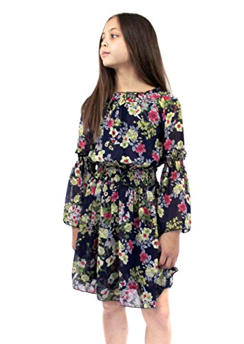 Smukke, Big Girls Beautiful Printed Chiffon Long Sleeves Dress (with Options), 7-16 (Navy Floral, 12) -