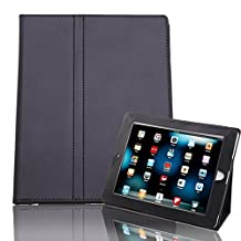HDE iPad 1 Case - Slim Fit Leather Cover Stand Folio with Magnetic Closure for Apple iPad 1 1st Generation (Black)