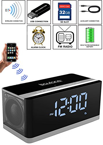 Boytone BT-86C Bluetooth 4.1 Portable Alarm Clock Radio Wireless Speaker, Digital FM Tuning Built–in 8 Hours Play Rechargeable Battery, Mic, Large LED Display, USB, Micro SD Slot, AUX, 110/220 (Original Dual Slot Desktop)