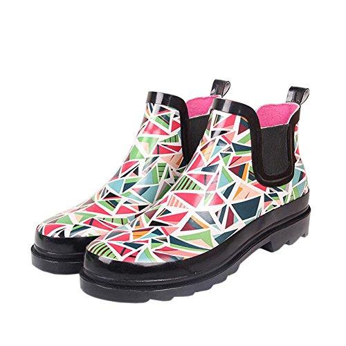 Hzjundasi Mujer Clásico Impermeables Botas de Lluvia Cortas Botas Dama Tobillo Botas Antideslizante Caucho Botas de Lluvia Agua Zapatos Invierno Botas