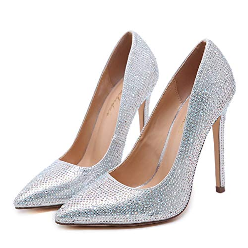 Cristal Pointu Taille Mariage Cloutés couleur Bout Hauts Talons Chaussures Silver Partie De Pompes Strass 37 Huijie Sun Silver Femmes EwR7qXRB