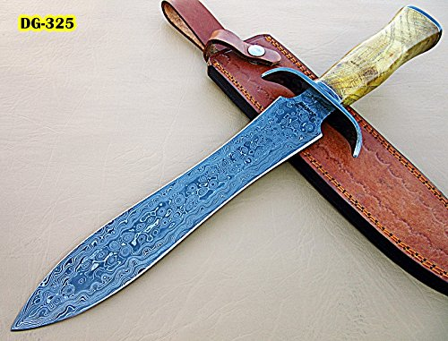 RAM-DG-325, Handmade Damascus Steel 15 Inches Dagger Knife - Exotic Appricots Wood Handle with Damascus Steel Guard