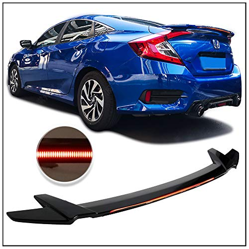 Trunk Spoiler Fits 2016-2018 Honda Civic | 4DR Sedan Long LED Style Rear Trunk Spoiler Wing Gloss Black ABS by IKON MOTORSPORTS ()
