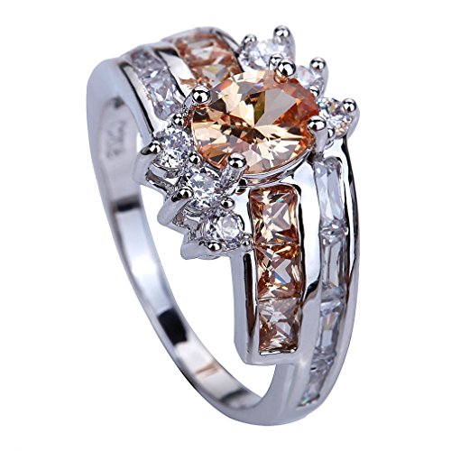 Yazilind 5*7mm Oval Cut Champagne Created Morganite Silver Plated Size 10 Ring
