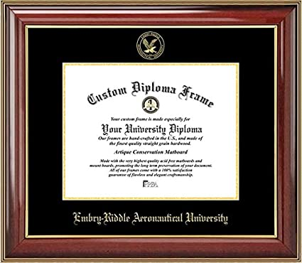 Embossed Seal Diploma Frame Mahogany Gold Trim Laminated Visuals Embry-Riddle Aeronautical University Golden Eagles