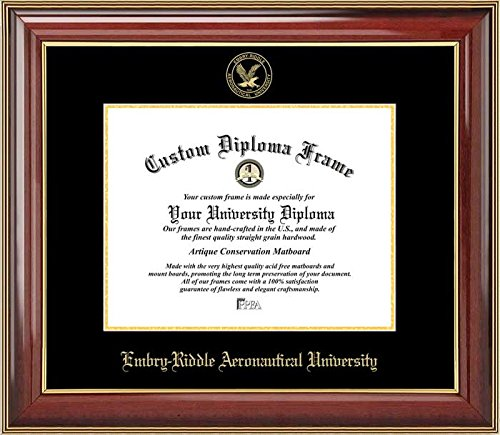 Embry-Riddle Aeronautical University Golden Eagles - Embossed Seal - Mahogany Gold Trim - Diploma Frame (Embry Riddle Diploma Frame compare prices)