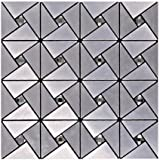 Premium Anti Mold Peel and Stick Wall Tile in Subway Silver,Kitchen Tile for Backsplash 12x12 Inch, Brushed Aluminum- LSLCB01 (Box of 10.76 sq ft)