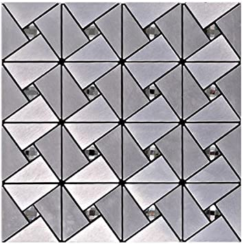 Attractive Silber Aluminium Kunststoff Spiegel Glas Mosaik Wandfliesen, 30x30cm  Selbstklebende Metall Mosaik Fliesen Aufkleber,
