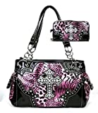 Western Cross Leopard Handbag Rhinestone Pocket Purse With Matching Wallet (PINK)