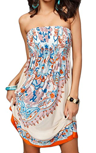 Strapless Khaki Women Dress s Beach Printed Ethnic Tunic Cromoncent Tube Slim Wrapped waqfIP