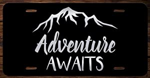 Adventure Awaits Mountains Vanity Front License Plate Tag KCE163