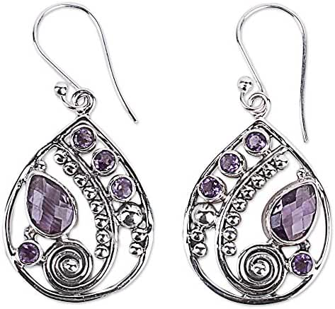 NOVICA Multi-Gem Amethyst .925 Sterling Silver Dangle Earrings, 'Lilac Radiance'