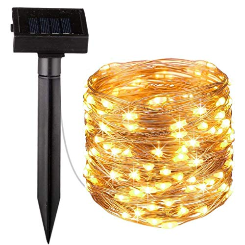 thriches Rope String Lights Outdoor Decoration Lights,20ft100 LED Waterproof Fairy Copper Wire Solar String Lights for Indoor Outdoor Patio,Lawn,Garden (Warm White)