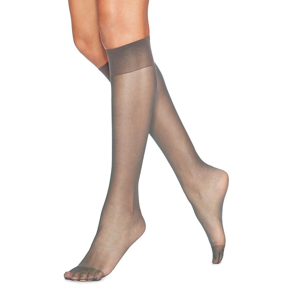 45460ee1e Hanes Hosiery Silk Reflections Silky Sheer Reinforce Toe Knee High 775  (Town Taupe One Size) Pack of Two at Amazon Women s Clothing store   Pantyhose