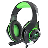 TurnRaise 3.5mm PC LED Light Game Headset Over-Ear Headphone with Mic for Laptop Tablet/ PS4/ Mobile Phones w/ Noise Cancelling & Volume Control(Green)