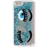 iPhone 5S Case, Little Sky (TM) [Slim Fit] Black Eyes Eyelash Pattern [Flowing Liquid] Floating Bling Glitter Sparkle Stars Hard Case for Apple iPhone 5S / iPhone 5, Eyes Blue
