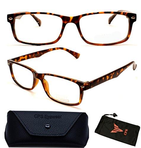 9cc15e36f7 Rectangular Shape Black Color Clear Lens Glasses For Men Women Unisex +  Hard Case (Tortoise