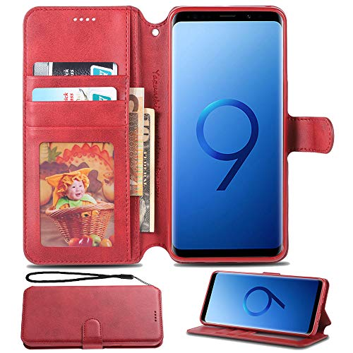 for Samsung Galaxy S9 Case Creck Cellphone Galaxy S9 Case Magnetic Flip Flap Wallet case Leather with Cash Credit Card Slots (Red)