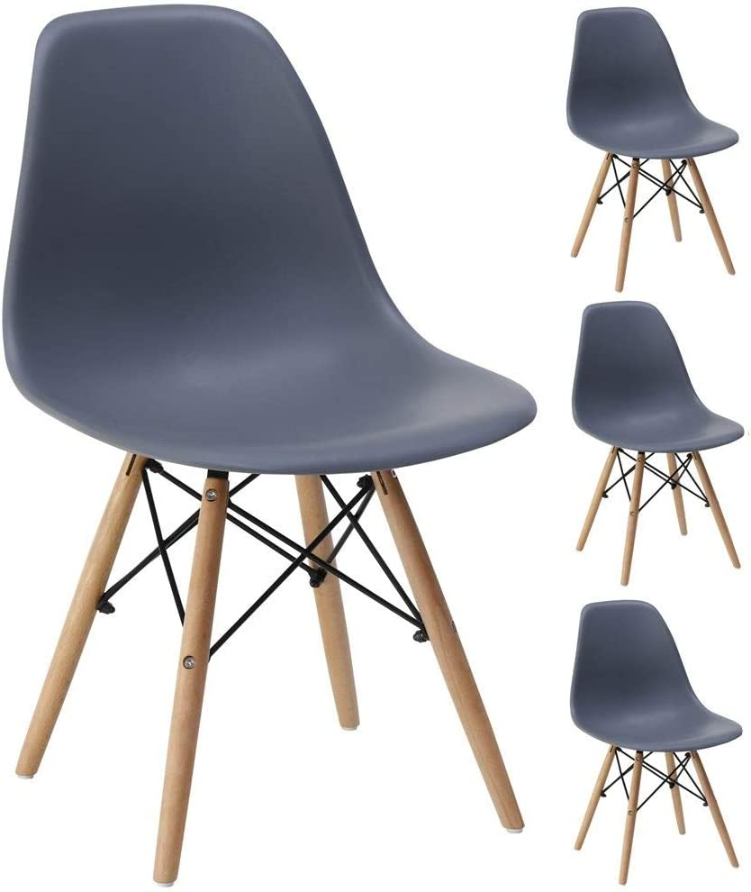 Gr8 Home 4 Retro Inspired Chair Set Plastic Wooden Modern Office Dining Living Room Table Lounge Panton Eiffel Seat Grey