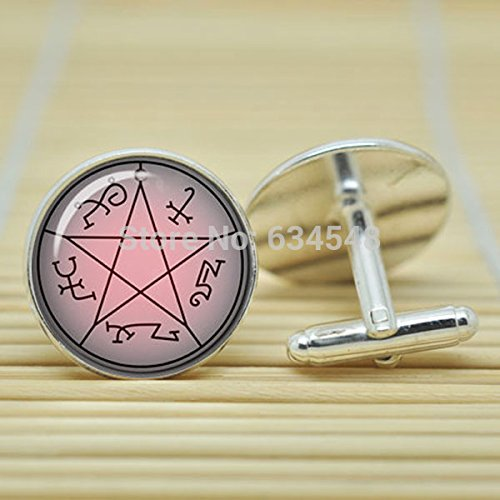 Pretty Lee Supernatural Devils Trap Pentagram Sigil Image Dean Winchester In Silver Cufflinks Glass Cabochon Cufflinks C3513