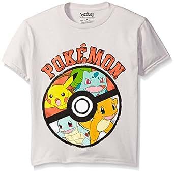 Pokemon Big Boys Pokemon Ball Short Sleeve Tee, Silver, X-Large/18-20