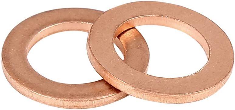 Kupfer Unterlegscheibe Flachdichtung Ring f/ür Auto 10 x 15 x 1,5 mm X AUTOHAUX 30Stk