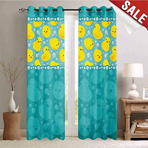 Flyerer Rubber Duck, Customized Curtains, Yellow Cartoon Duckies Swimming in Water Pattern with Fun Bubbles Aqua Colors, Blackout Window Curtain, W84 x L84 Inch Teal Blue ()