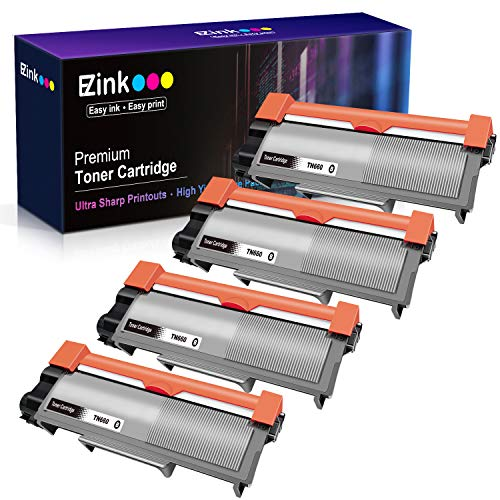 E-Z Ink (TM) Compatible Toner Cartridge Replacement for Brother TN630 TN660 High Yield to use with HL-L2300D DCP-L2520DW DCP-L2540DW HL-L2360DW HL-L2320D HL-L2380DW MFC-L2707DW Printer(Black, 4 Pack)