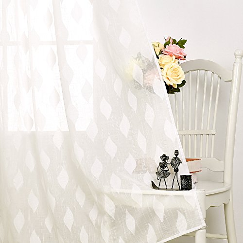 Deconovo Home Decorative Voile Grommet Sheer Curtain Panels Embroidery White Sheer Window Curtains for Bedroom 52 by 95 Inch Off White 2 Panels Set