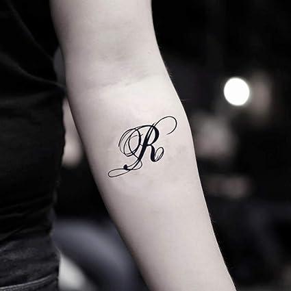Lettre R Autocollant De Faux Tatouage Temporaire Lot De 2