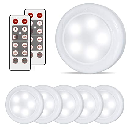Lifeholder 6 Pack Led Puck Lights, Timer Wireless Kitchen Under Cabinet  Lighting, Battery Powered